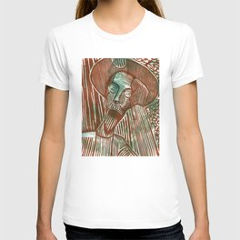 Don Quixote in Green and Rust T-shirt