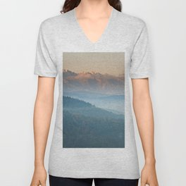 The mountains are calling #sunset Unisex V-Neck