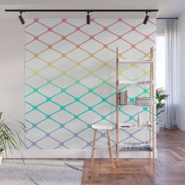Fishnets in Pastel Rainbow on White Background Wall Mural