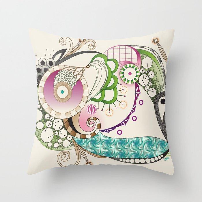 Autumn tangle, sienna - purple color set Throw Pillow