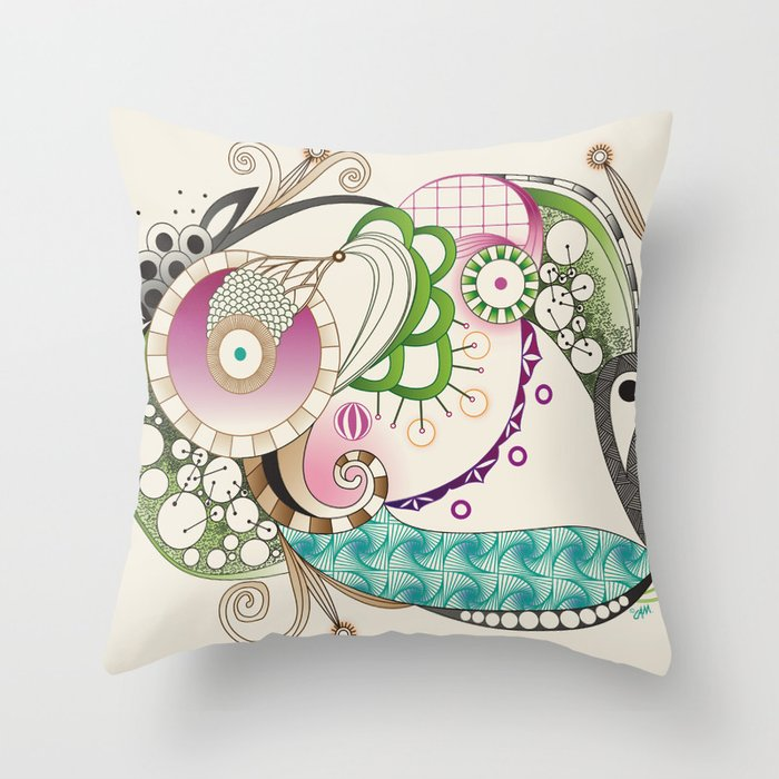 Autumn tangle, sienna - purple color set Throw Pillow