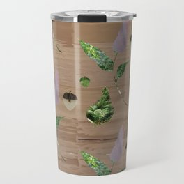 Floral Pattern on Wooden Table Travel Mug