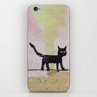 black cat iPhone & iPod Skins featuring Black Cat by Brontosaurus