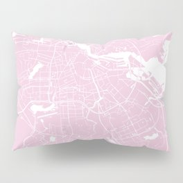 Amsterdam Pink on White Street Map Pillow Sham