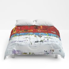 Folly Bright Red White Modern Art Abstract Painting Comforters
