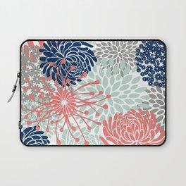 Floral Print - Coral Pink, Pale Aqua Blue, Gray, Navy Laptop Sleeve
