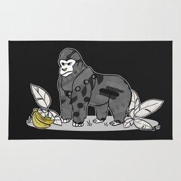 Gorilla & Bananas,Funny Wild Animal Graphic,Black & White with Brass Gold Metallic Accent Cartoon Rug
