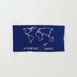 Adventure Map - Navy Blue Hand & Bath Towel