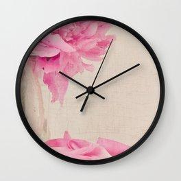Pink Peony and Petals Wall Clock