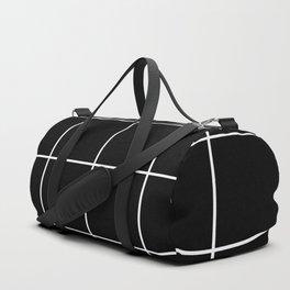 white grid on black background - Duffle Bag