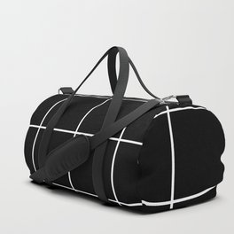 white grid on black background - Duffle Bag