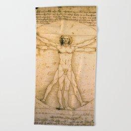 Vitruvian Man by Leonardo da Vinci Beach Towel