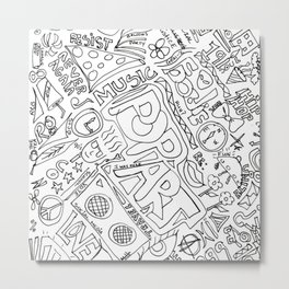 Graffiti: Black And White Metal Print