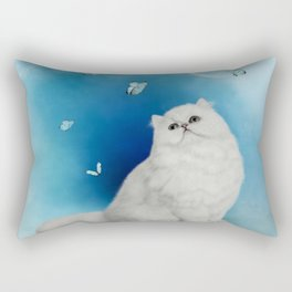 Cute chinchilla cat with butterflies Rectangular Pillow