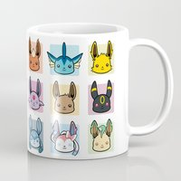 sylveon Mugs featuring Eeveelutions by BunnyBrush