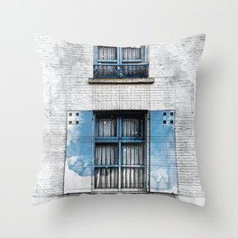 Architect Drawing of Blue Wooden Windows Throw Pillow