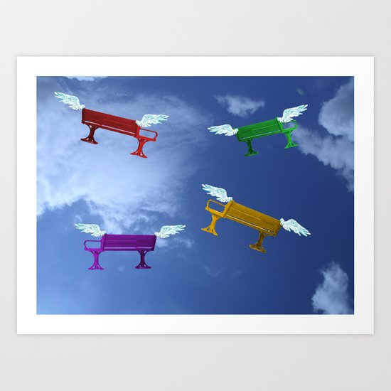 Winged Benches. Art Print