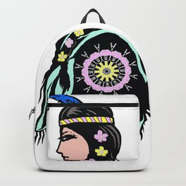 Indian woman with flowers Backpack