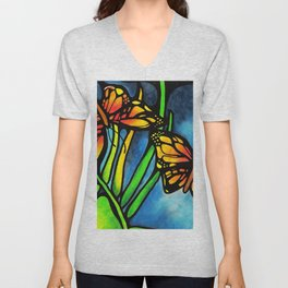 Beautiful Monarch Butterflies Fluttering Over Palm Fronds by annmariescreations Unisex V-Neck