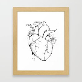 Black and White Anatomical Heart Framed Art Print