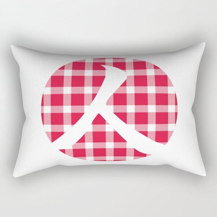 Plaid Crimson Red Person Rectangular Pillow