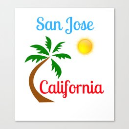 San Jose California Palm Tree and Sun Canvas Print