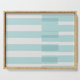 Big Stripes In Turquoise Serving Tray