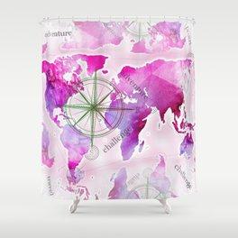 Watercolor map (magenta) Shower Curtain