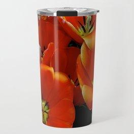Orange and White Flowers Travel Mug