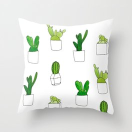 Friendly family of succulents Throw Pillow