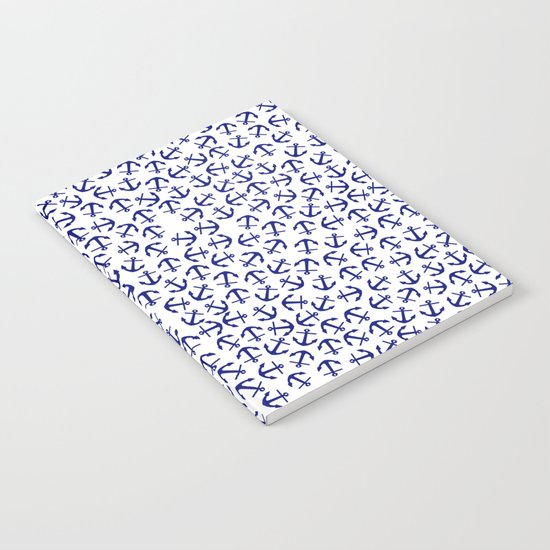Maritime Anchors pattern- blue anchors on white backround Notebook