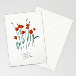 So Happy Here Everything's Fine Red Floral Illustration Lyrics Stationery Cards