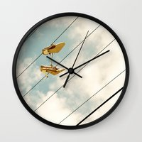 shoes Wall Clocks featuring Shoes by BlueMoonArt