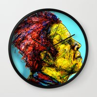 tom waits Wall Clocks featuring Tom Waits by Alec Goss