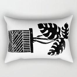 Linocut cheese plant monstera tropical leaf lino print black and white illustration art home dorm  Rectangular Pillow
