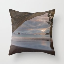 Dawn At Cathedral Cove 5 Throw Pillow