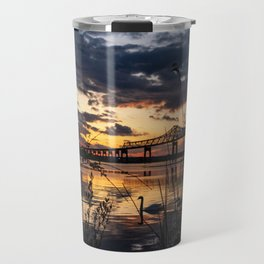 Sun sets on the bridge Travel Mug