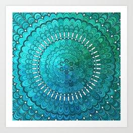 Turquoise Mandala Kunstdrucke