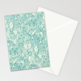 canadian animals teal pearl Stationery Cards