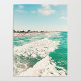 Pacific Beach scene from the Pier, San Diego, California Poster
