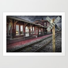 Old Train Station with Crossing Sign in Gutherie Oklahoma No.0840 A Fine Art Railroad Landscape Phot Art Print