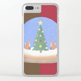 Snow Globe Christmas Tree Foxes Clear iPhone Case