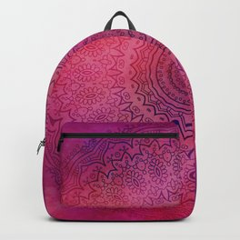 Watercolor Mandala Painting Red Pink Backpack