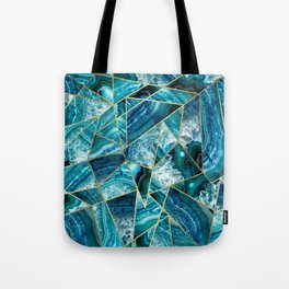Turquoise Navy Blue Agate Black Gold Geometric Triangles Tote Bag