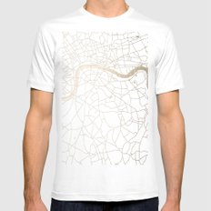 White on Gold London Street Map White MEDIUM Mens Fitted Tee