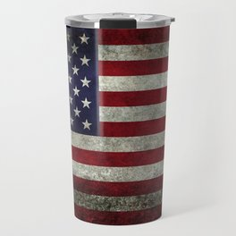 American Flag, Old Glory in dark worn grunge Travel Mug