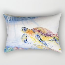 Going Up Sea Turtle Rectangular Pillow