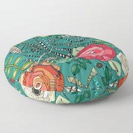 boho winter floral teal Floor Pillow