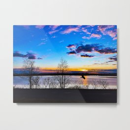 Hawk Flying by Fore River in Portland, Maine Metal Print