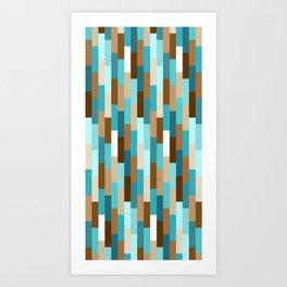 Staggered Geometric Rectangles // Caribbean Blue, Ocean Blue, Dark Brown, Coffee Brown, Khaki Art Print